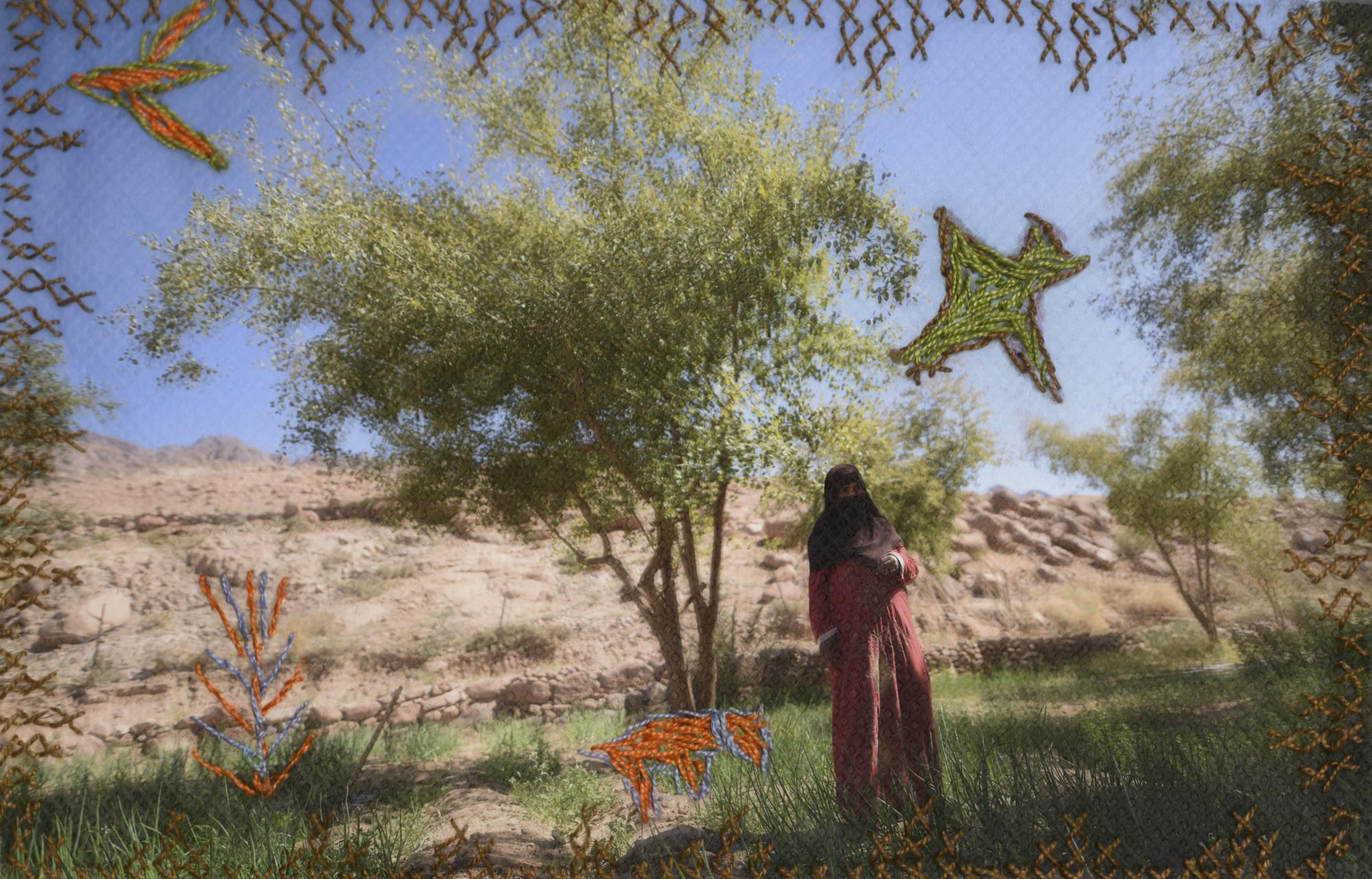 Embroidered photograph of Hajja Oum Mohamed (53) in her garden in Gharba Valley. Embroidery by her.
