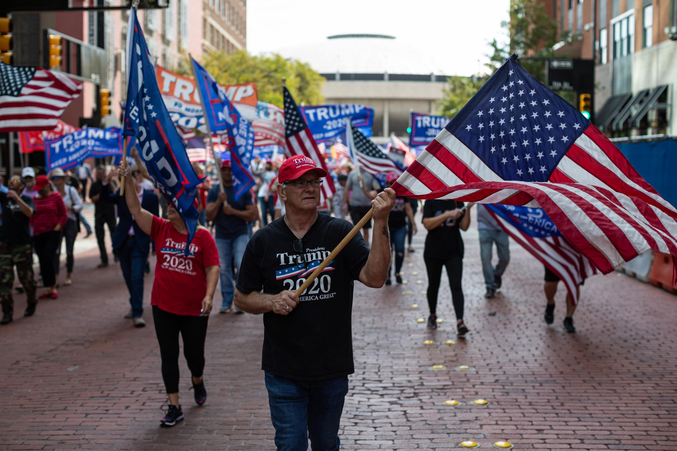 11/14/20 Fort Worth, Texas - A massive group of Trump Supporters held a rally and marched to the Fort Worth City Hall in response to the election turn out of the 2020 Presidential Election.