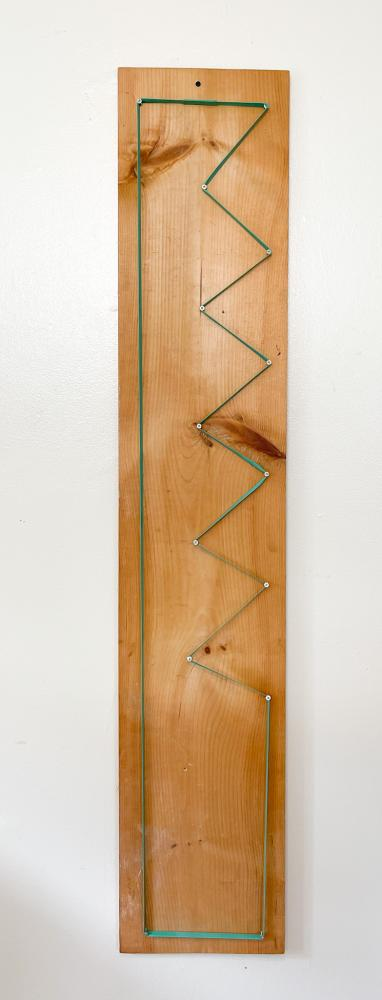 Pallet band, wood board, screws; 2021