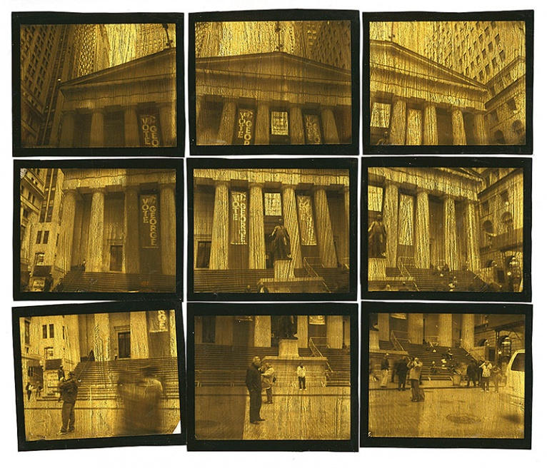 The second in a series based on Wall street and the Occupy Movement. Nine photos are taken with a Polaroid and then seperated from the backing, gold leafed with 24K gold and assembled as one piece on acid free art board. Greg Brophy © 2012