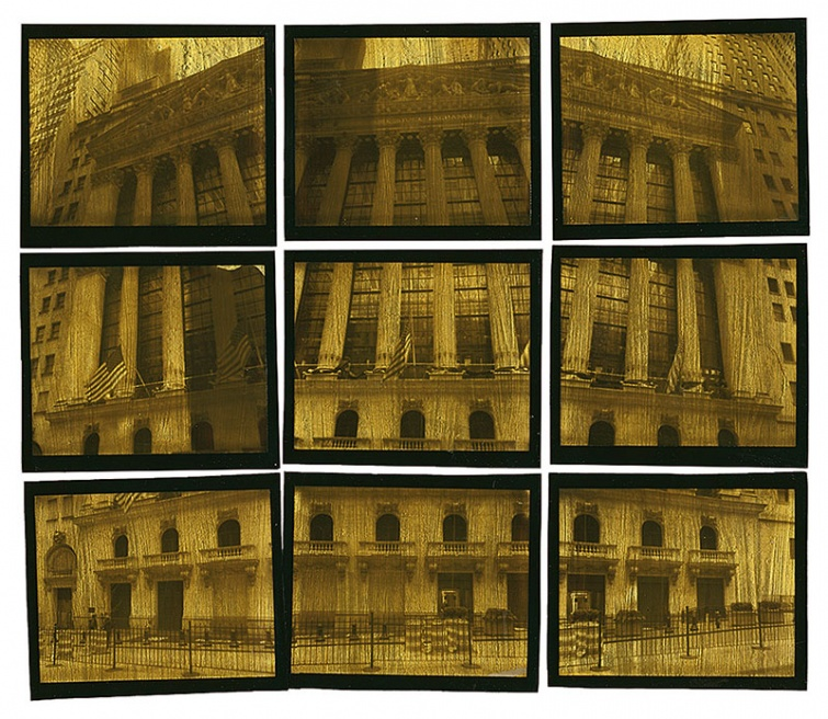 The first in a series based on Wall street and the Occupy Movement. Nine photos are taken with a Polaroid and then seperated from the backing, gold leafed with 24K gold and assembled as one piece on acid free art board. Greg Brophy © 2012