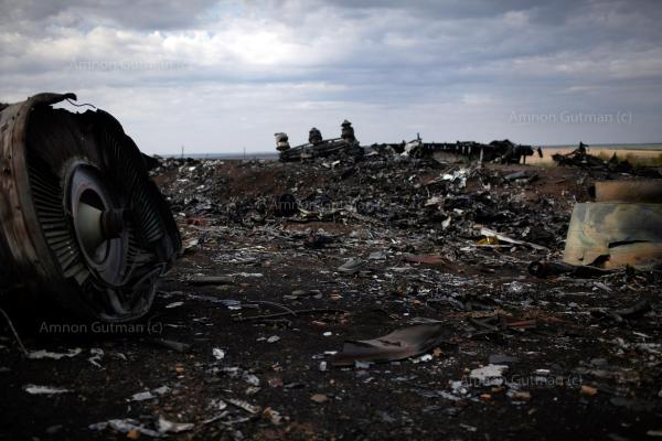 The remains of Malaysia Airlines Flight 17 (MH17), near Hrabove village, Donetsk Oblast. it was a scheduled passenger flight from Amsterdam to Kuala Lumpur that was shot down on 17 July 2014 while flying over eastern Ukraine, killing all 283 passengers and 15 crew on board.