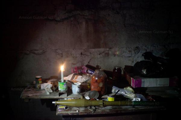 Food and RPG being used by DPR (Donetsk People's Republic) forces at the frontline near Donetsk airpot.