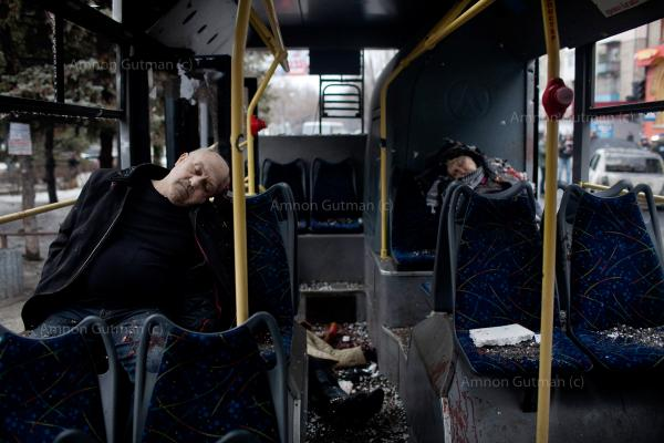 Passengers killed when a trolley bus was got hit by a mortar shell. at least 8 civilians died in the attack and dozens were injured. Donetsk.