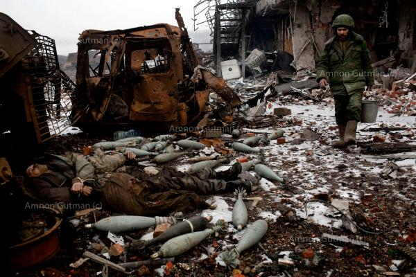 The bodies of UA army soldiers laying outside the old Donetsk airport terminal. the airport has been the scene of heavy fighting between DPR forces and UA army for the 8 months, eventually falling into DPR hands.