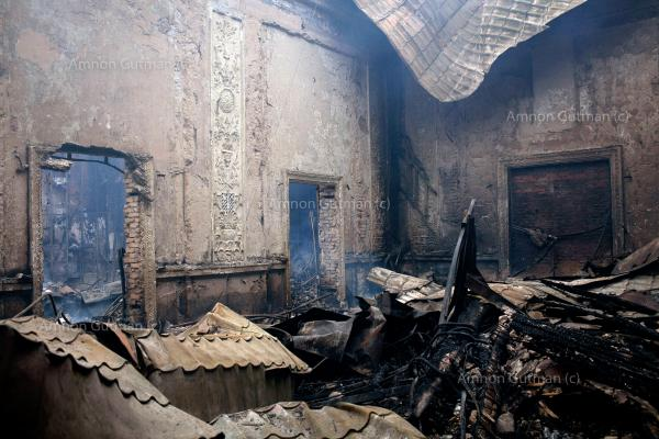 Destruction caused by heavy shelling in the city of Donetsk.