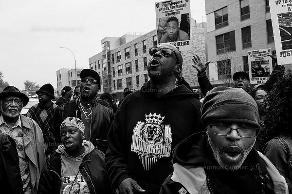 Family and friends of Clayton Hemmingway JR, age 16, rallying outside of his building in order to demand justice for his murder, that happened on November 4, 2017 at the entrance to his apt building in Linden Houses, after an argument on the basketball court in Gresh park, E New York.  The murderer is still at large...