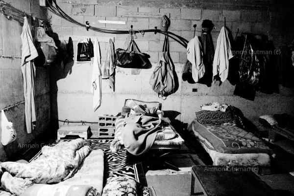 Palestinian sleeping quarters for men who worked illegally in Israel. they were caught in the Israeli-Bedouin city of Rahat, 20 KM north of Beer-Sheva city.