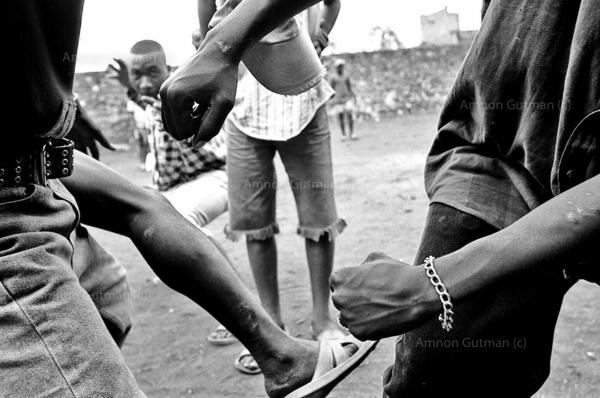 Ex child soldiers (FDLR militia) , at a child soldiers rehabilitation center, Goma, North Kivu.