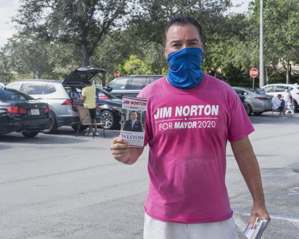 Weston, Fl – October 29, 2020: Jim Norton; Weston resident and candidate for Mayor of Weston. He is campaining outside of the Broward County Library Weston Branch - an early voting location. Credit: Andres Guerrero