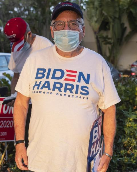 Weston, Fl – November 3, 2020: Barry, campaining during election day at Weston polling location. Credit: Andres Guerrero