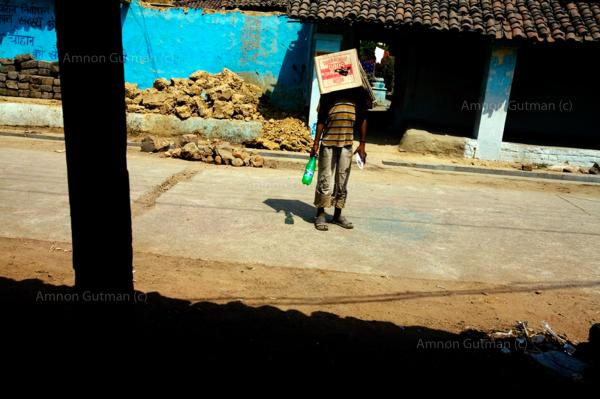 A child playing at the village of Sarayplay, which borders the main steel plant in Raigrah city, Chhatisgrah.