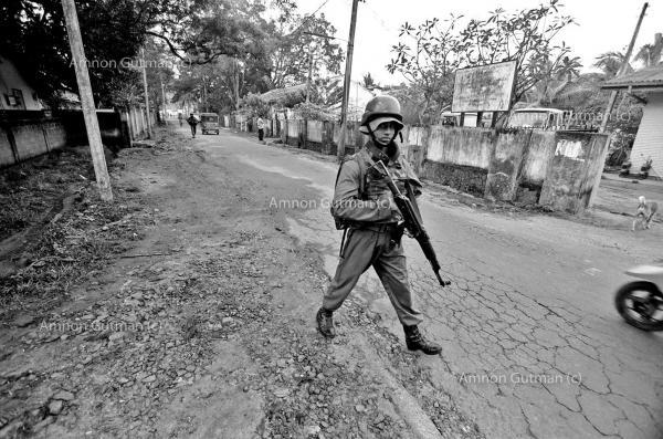 SLA soldiers patrolling the streets of Vavunia town, North Sri Lanka.