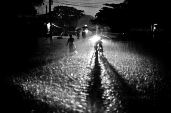 Monsoon rain, Vavunia town, North Sri Lanka.