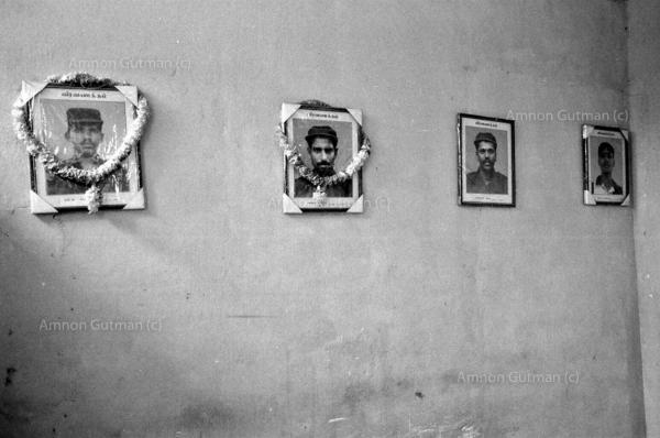 Tamil martyrs pictures, hanging on the wall inside TMVP party, a group that has defected from the LTTE in 2004 and became a political party in 2007, helping the Sri Lanka government fight against the LTTE in eastern parts of Sri Lanka. Batticaloa.