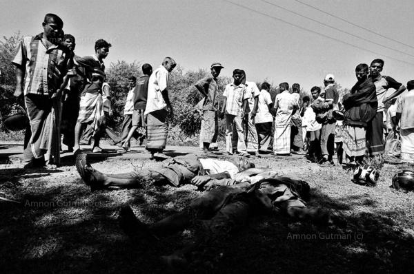 Two bodies of Sinhalese civilians (out of 10) who were killed allegedly by LTTE carders at the village of Galkotukanda, South Sri Lanka.