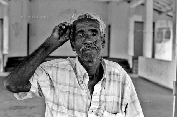 A Tamil man who lost his wife and an eye in attack that happened by unknown assailants, during the conflict. Trincomalle, East Sri Lanka.