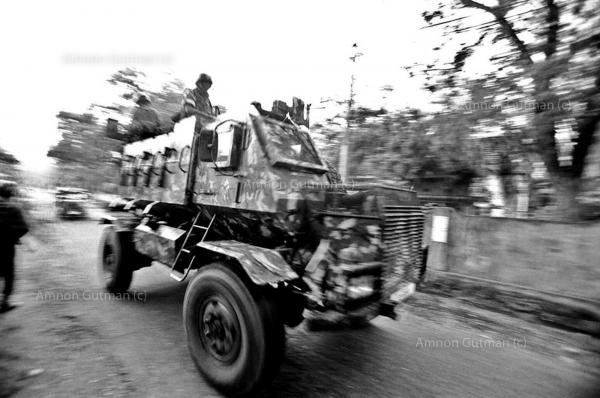 SLA armored vehicle, patrolling the streets of Vavuina, where heavy clashes take place between LTTE( Liberation Tigers of Tamil Elam) and Sri Lanka army forces.