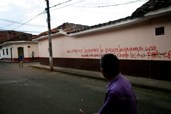 """""""we do not give birth of children/sons for the war. we look for a political solution of the conflict, FARC-EP"""" (revolutionary armed forces of Colombia's people's army). Santander De Quilichao, North Cauca."""