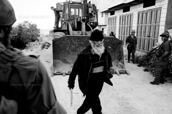 Blocking a road at the entrance of a Palestinian village, near Jenin.