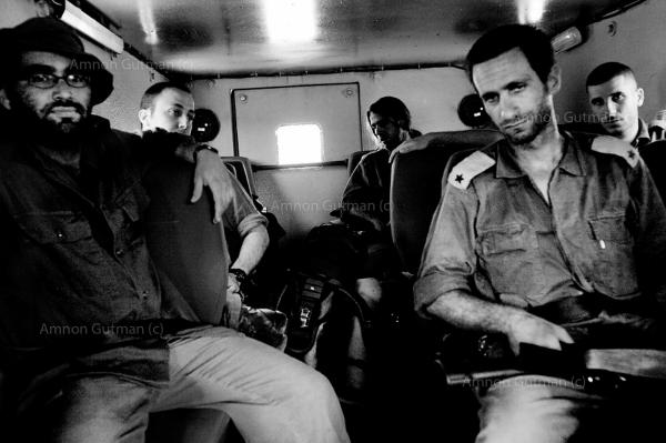 On the way back to their base after a night patrol in the West Bank, near Jenin.