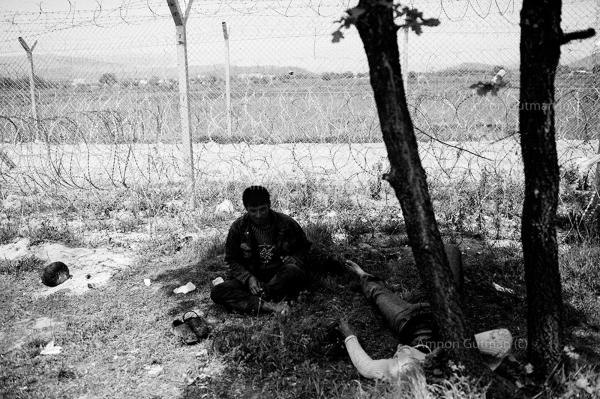 Refugees resting by a tree, near the newlybuilt fence at the Greek-Macedonain border. more than 10000 asylum seekers arestranded for the past few months in Idomenicamp.