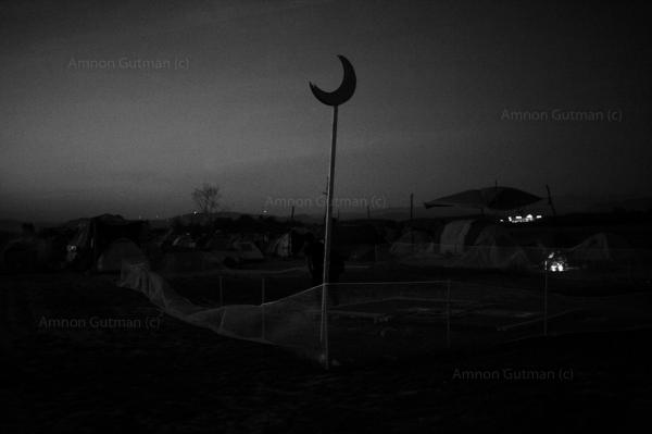 A place of worship for refugees inside Idomeni camp.