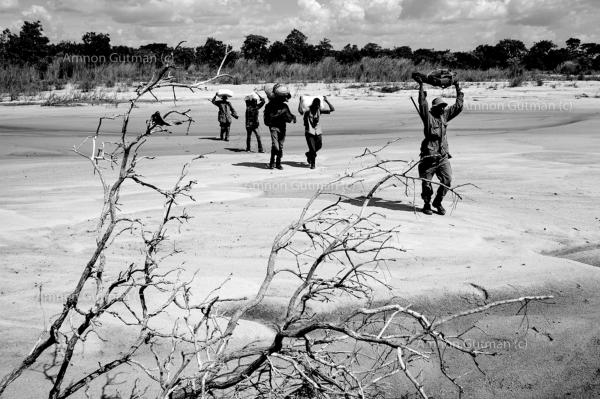 Crossing a dry river bed, during the patrol.
