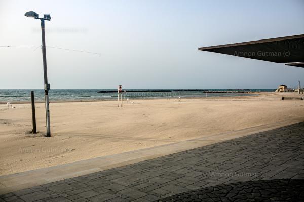 The empty beach of Tel-Aviv.