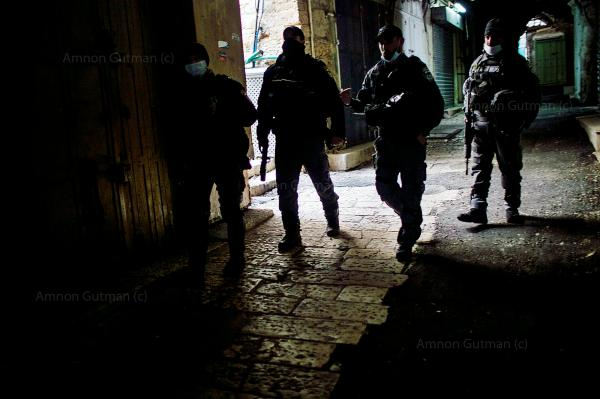 Border patrol officers patrol the streets of the old city, during the first lockdown. Jerusalem.