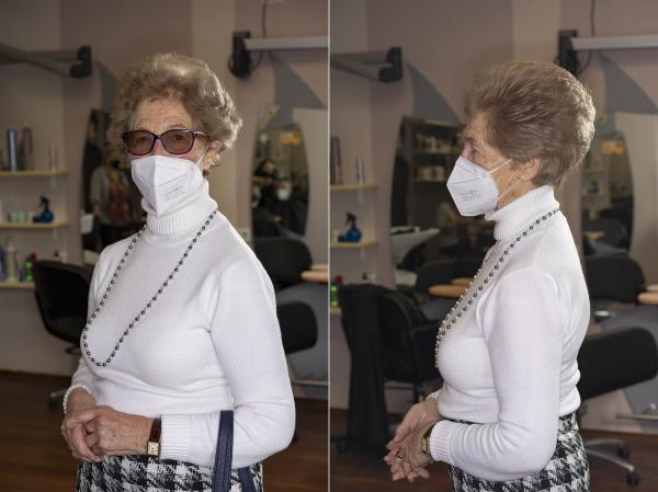 """4. Helga, Berlin Mariendorf                   """"Ich gehe regelmäßig [zum Frisör], also waschen, färben und schneiden und das ist regelmäßig alle 4-5 Wochen - [jetzt waren es] 6 oder 8 Wochen: da hat mir meine Putzfrau die Haare geschnitten - hier war ja zu!""""  """"I go regularly [to the hairdresser], to wash, dye and cut and that's regularly every 4-5 weeks [Now I haven't been] for 6 or 8 weeks - so my cleaning lady had to cut my hair - here it was closed!"""""""