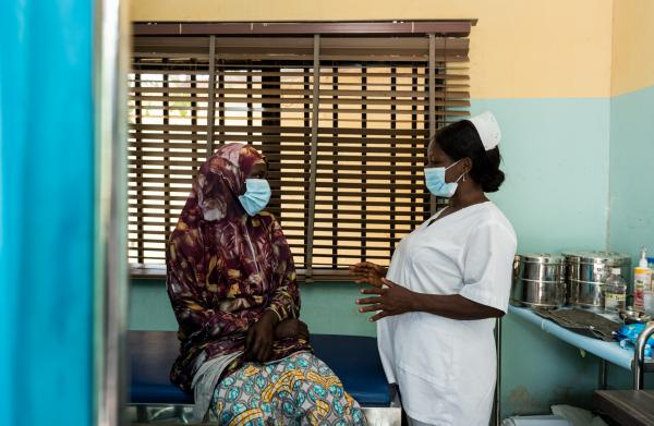 Clients wait to be registered for a breast and cervical cancer screening at the Raise Foundation office in Niger state