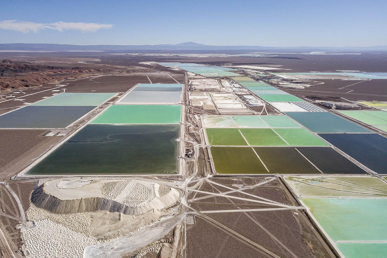 Aerial view of brines pools at Albemarle plant in Atacama Desert, Chile. 2021