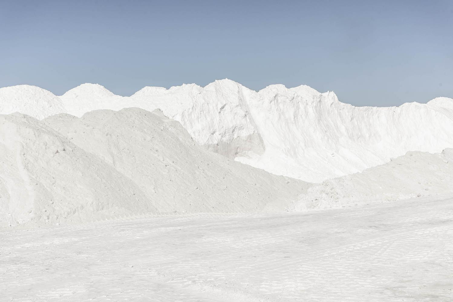Tailings of sub product at Albemarle Lithium plant in the Atacama Desert, Chile.2021