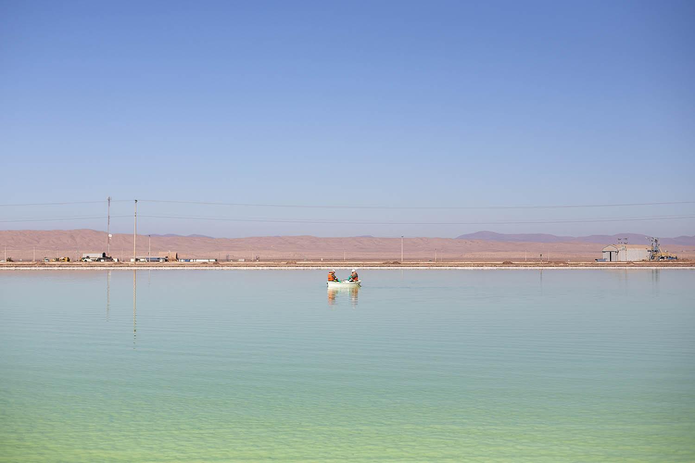 Pool of brine in the Sociedad Química Minera Plant. Antofagasta region, Chile. 2018