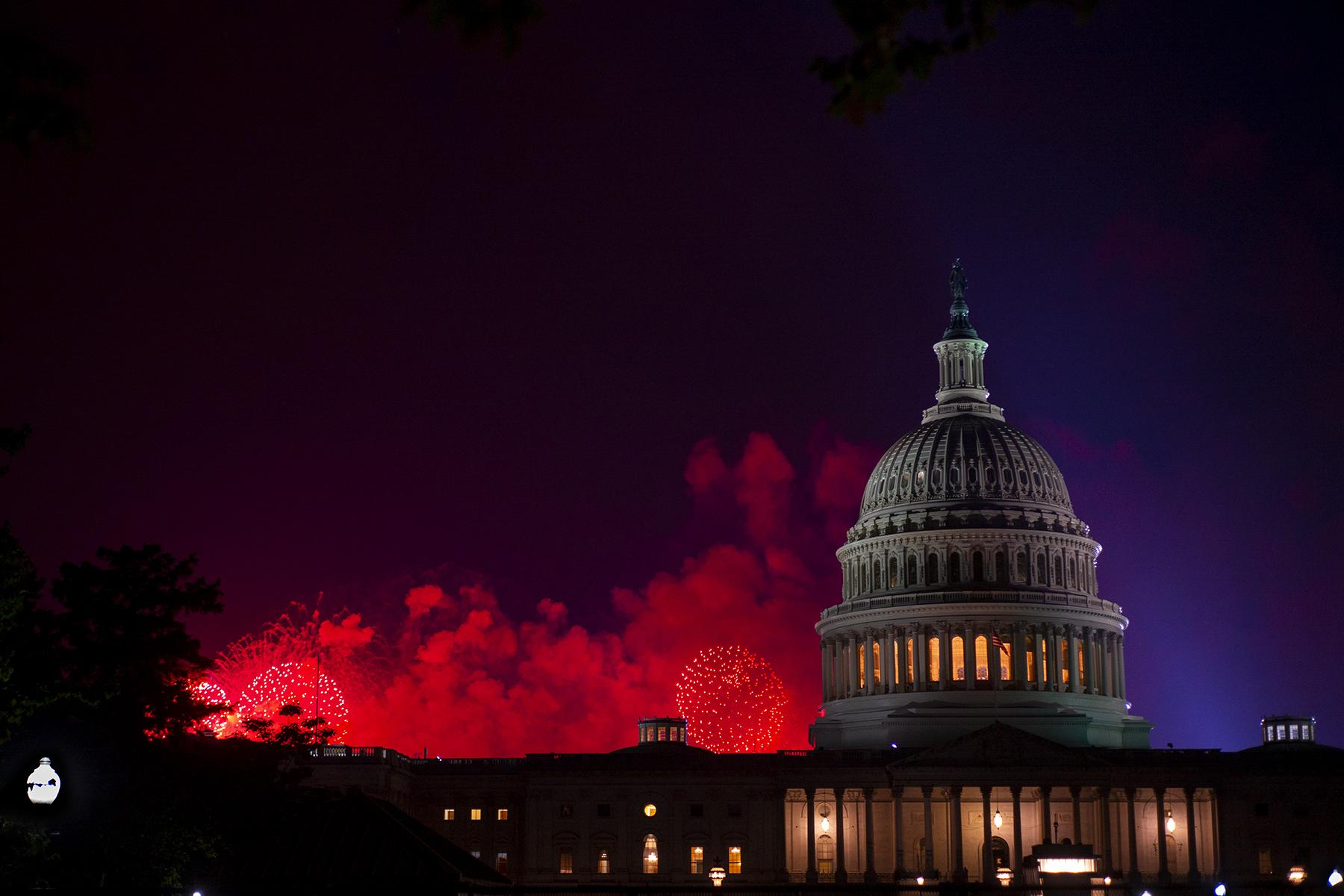 4th of July fireworks as seen from the east side of the U.S. Capitol, 2021. Not the best few.