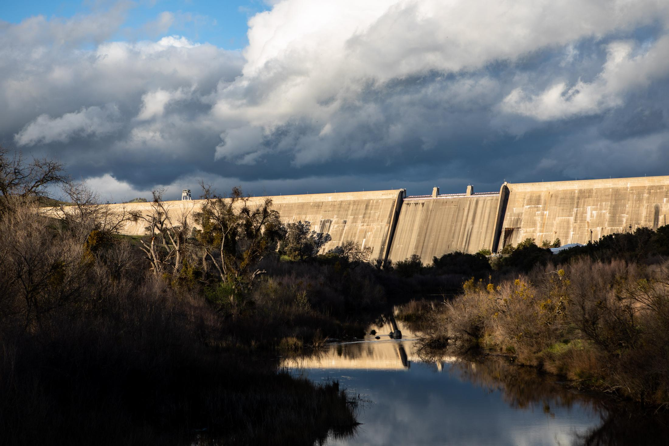 The Friant dam as clouds pass over- Constructed just after the Great Depression, Friant Dam was devised to control the San Joaquin River.