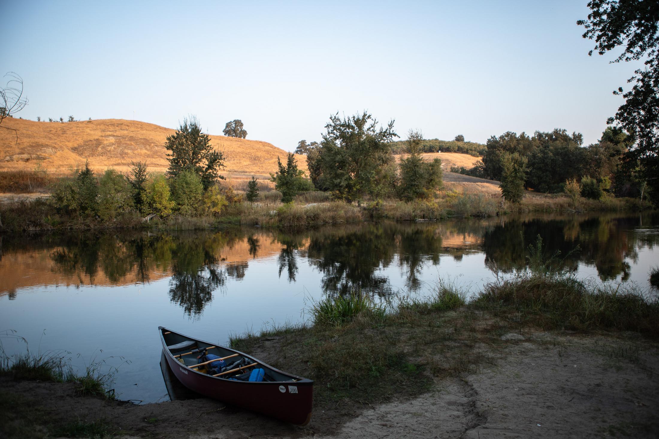 A canoe on the San Joaquin river. below Friant. CA.