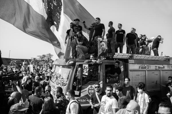 From Beirut Blast anniversary vigil and protest, Beirut, Lebanon, 04/08/2021