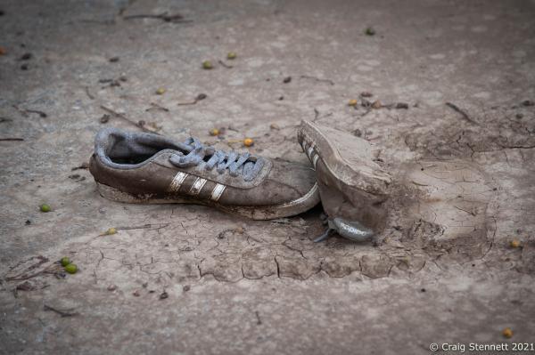 After the storm. Abandoned shoes on PestalozziStrasse in Sinzig, Rhineland-Palatinate, Germany.
