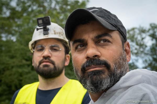 Maher Ocbaid on the left with his cousin Barakat Ocbaid of 'Syrische Freiwilliger Hilfer' in Sinzig,Rhineland-Palatinate, Germany.