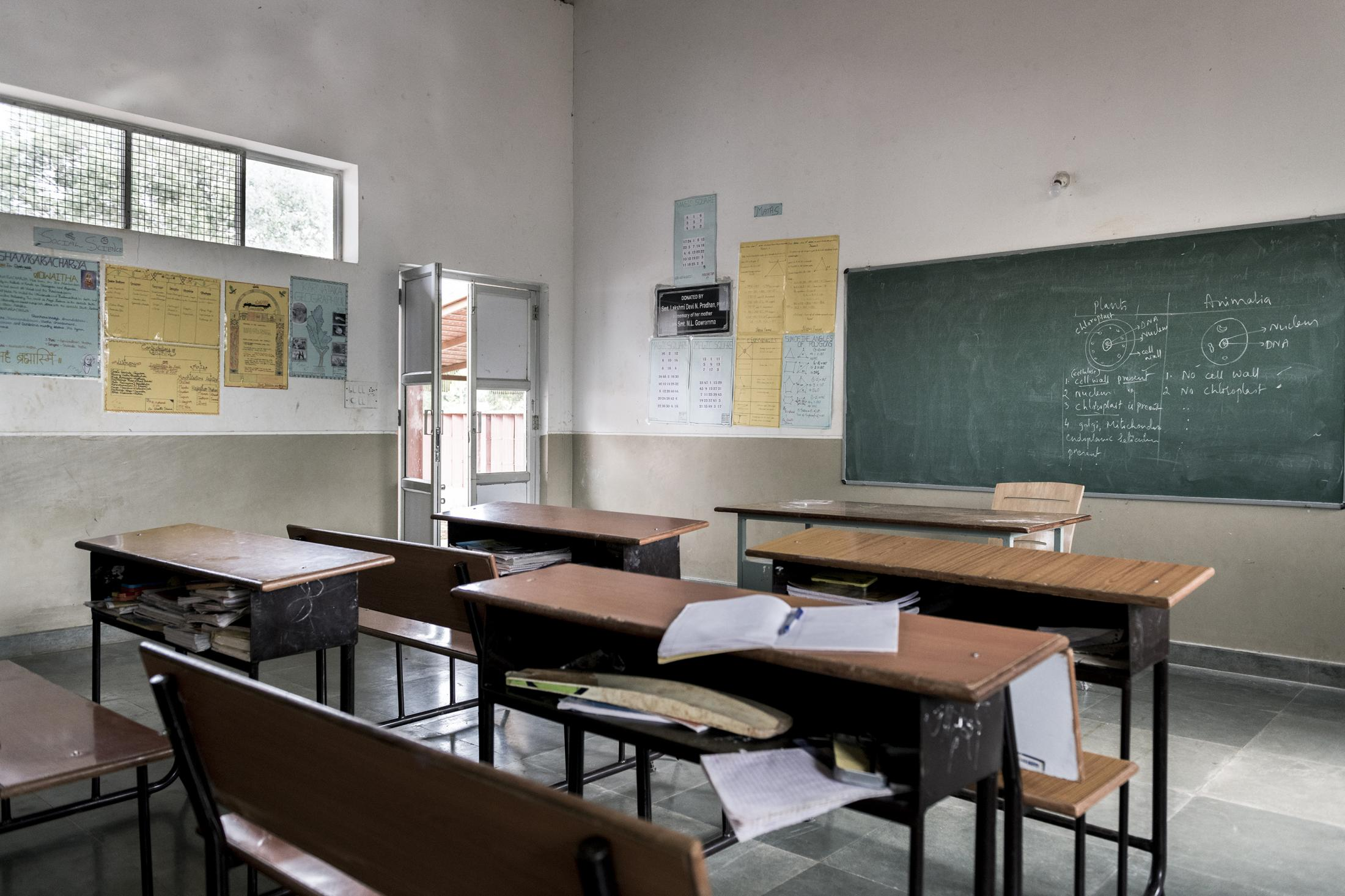 Classrooms are mainly used only when the blackboard is essential for teachers to explain some subjects. India.