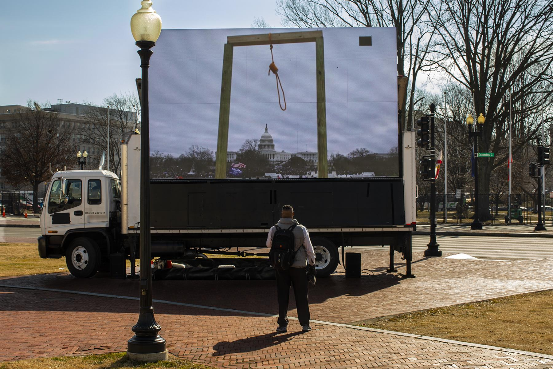 February 9, 2021, A sign truck is parked in front of Union Station, Washington D.C. on the first day of the Senate Impeachment Trial of former president Donald Trump.