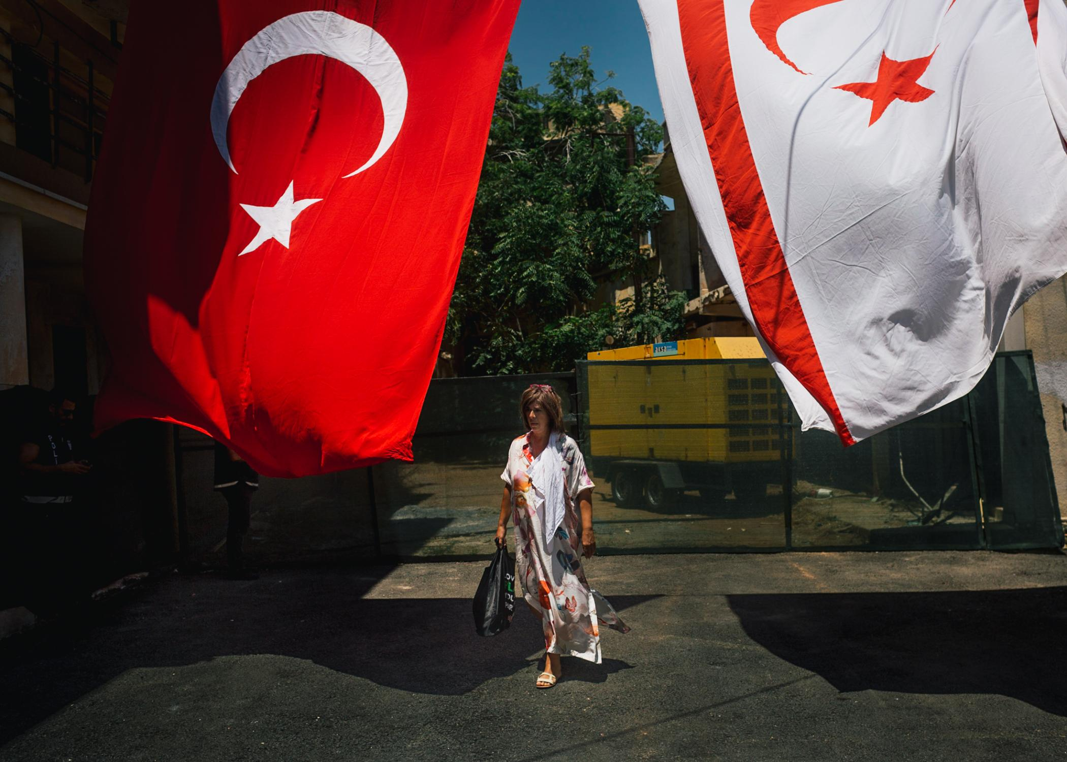 Tasoula Hadjitofi at the opening of a mosque in Famagusta on the occasion of the visit of Turkish President Erdogan.