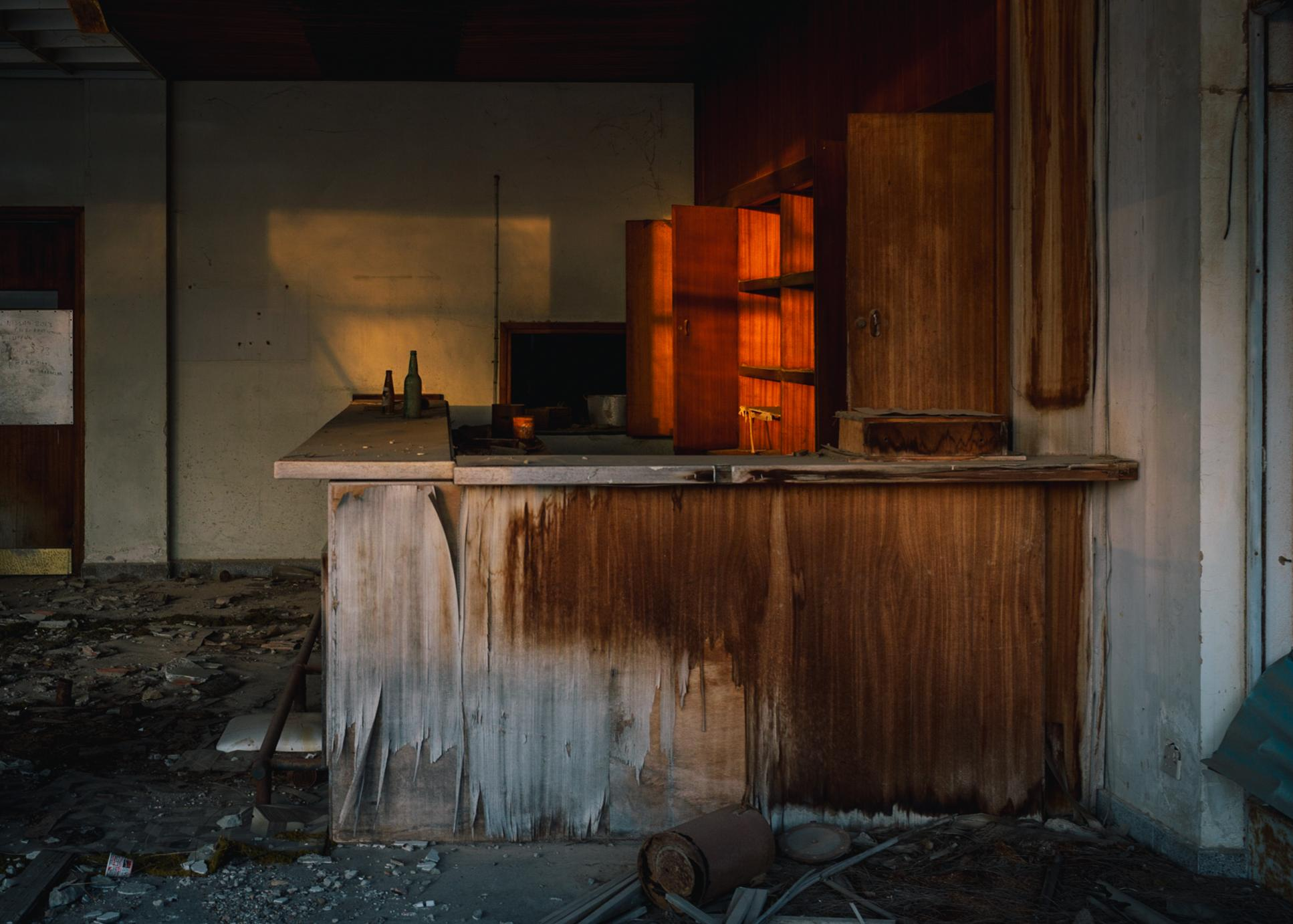 """The former bar of the cafe """"Edelweiss"""" in the ghost town."""