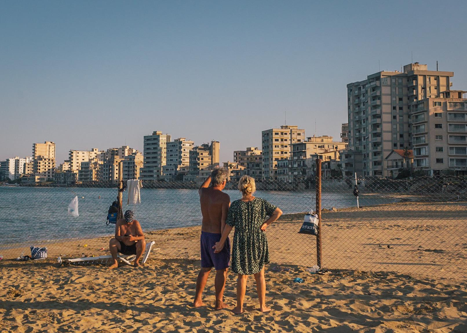 Beach view from Turkish territory to the ghost town in Famagusta.
