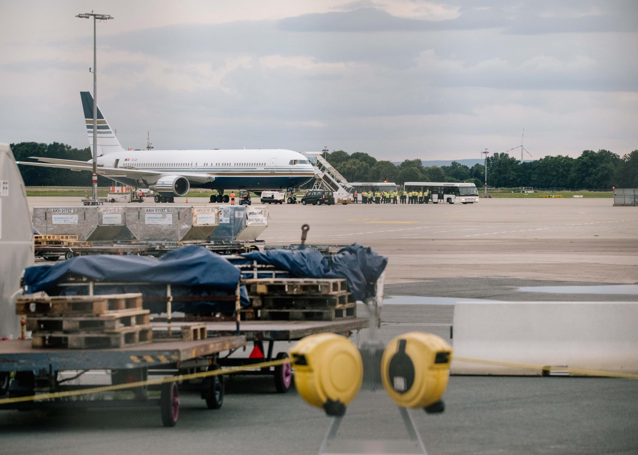 Charter plane of Spanish airline Privilege Style is boarded on the airfield of Hanover. July 6th, 2021