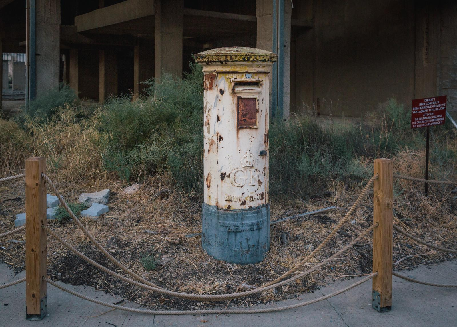 A former mail box in the ghost town of Famagusta.