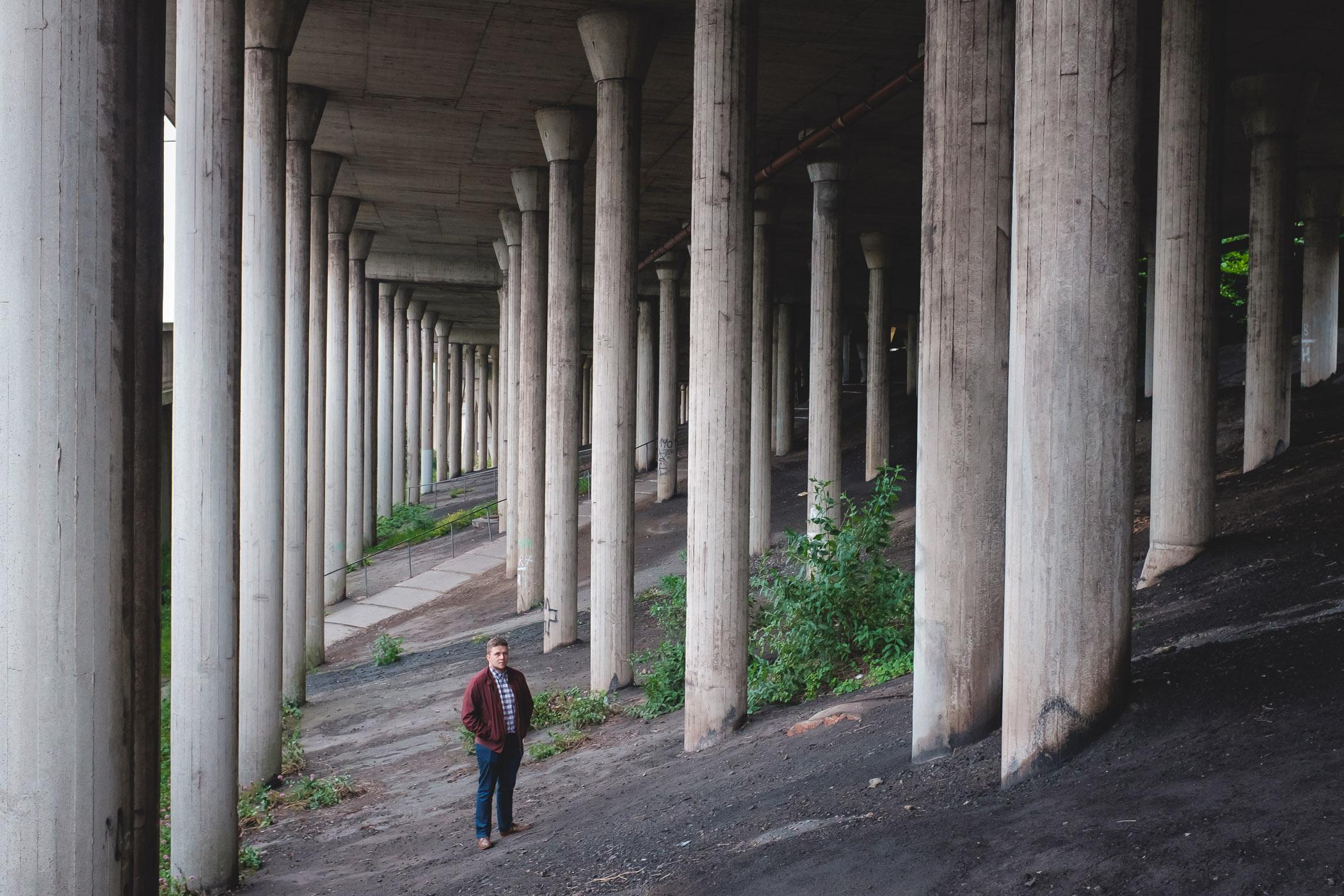 Josh Reed spent the first few years of his life living with his family on Llewellyn street. The forest of motorway support pillars were a playground for him and his friends. Before the motorway this would have been near the site of one of 3 churches that were demolished.