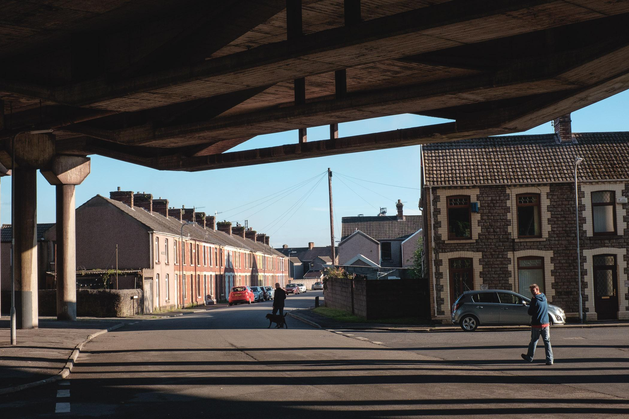 View under the M4 motorway crossing through Port Talbot, Wales.